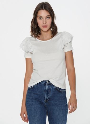 Loves You Kolları Güpürlü T-Shirt Beyaz